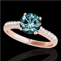 1.25 CTW SI Certified Fancy Blue Diamond Solitaire Ring 10K Rose Gold - REF-156Y4X - 34825