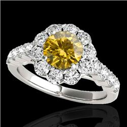 3 CTW Certified SI/I Fancy Intense Yellow Diamond Solitaire Halo Ring 10K White Gold - REF-345F5N -