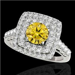 2.3 CTW Certified SI/I Fancy Intense Yellow Diamond Solitaire Halo Ring 10K White Gold - REF-254K5W