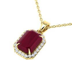 5.50 CTW Ruby And Micro Pave VS/SI Diamond Halo Necklace 18K Yellow Gold - REF-79N6A - 21366