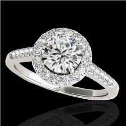 2 CTW H-SI/I Certified Diamond Solitaire Halo Ring 10K White Gold - REF-362K2W - 33490