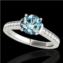 1.50 CTW SI Certified Fancy Blue Diamond Solitaire Ring 10K White Gold - REF-174Y5X - 34930