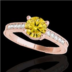1.20 CTW Certified SI Intense Yellow Diamond Solitaire Antique Ring 10K Rose Gold - REF-149A3V - 347