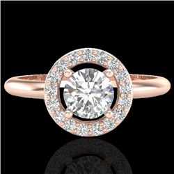 0.70 CTW Micro Pave Halo Solitaire VS/SI Diamond Certified Ring 14K Rose Gold - REF-101N3A - 23288