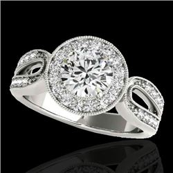 1.40 CTW H-SI/I Certified Diamond Solitaire Halo Ring 10K White Gold - REF-180N2A - 34558