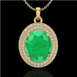 4.50 CTW Emerald & Micro Pave VS/SI Diamond Certified Necklace 18K Yellow Gold - REF-120K9W - 20563
