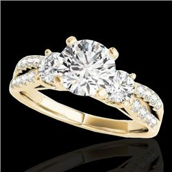 1.50 CTW H-SI/I Certified Diamond 3 Stone Ring 10K Yellow Gold - REF-172M7F - 35405