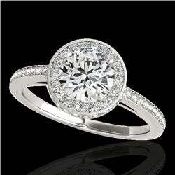 1.55 CTW H-SI/I Certified Diamond Solitaire Halo Ring 10K White Gold - REF-180A2V - 34274