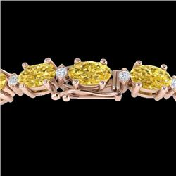 19.7 CTW Citrine & VS/SI Certified Diamond Eternity Bracelet 10K Rose Gold - REF-98N2A - 29364