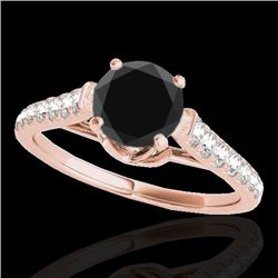 1.46 CTW Certified VS Black Diamond Solitaire Ring 10K Rose Gold - REF-62A7V - 34965