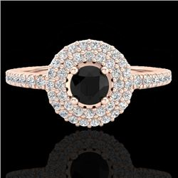 0.80 CTW Micro VS/SI Diamond Designer Ring 14K Rose Gold - REF-58X2R - 20892