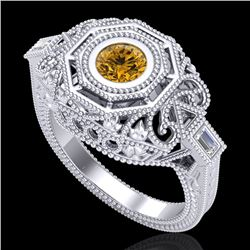 0.75 CTW Intense Fancy Yellow Diamond Engagement Art Deco Ring 18K White Gold - REF-227F3N - 37819