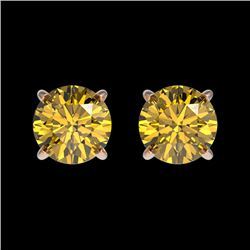 1 CTW Certified Intense Yellow SI Diamond Solitaire Stud Earrings 10K Rose Gold - REF-116W3H - 33058