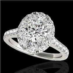 2 CTW H-SI/I Certified Diamond Solitaire Halo Ring 10K White Gold - REF-210R9K - 34078