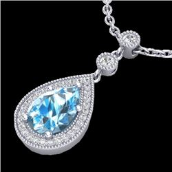 2.25 CTW Sky Blue Topaz & Micro Pave VS/SI Diamond Necklace 18K White Gold - REF-45N3A - 23142