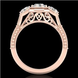 1.05 CTW VS/SI Diamond Solitaire Art Deco 3 Stone Ring 18K Rose Gold - REF-200W2H - 37101
