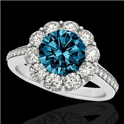 2 CTW SI Certified Fancy Blue Diamond Solitaire Halo Ring 10K White Gold - REF-199V5Y - 33252