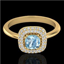 1.16 CTW Sky Blue Topaz & Micro VS/SI Diamond Ring Solitaire Halo 18K Yellow Gold - REF-70H2M - 2102