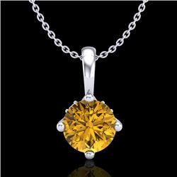 0.82 CTW Intense Fancy Yellow Diamond Art Deco Stud Necklace 18K White Gold - REF-136K4W - 37805
