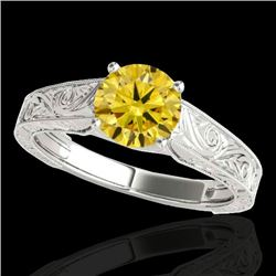 1 CTW Certified SI/I Fancy Intense Yellow Diamond Solitaire Ring 10K White Gold - REF-152V7Y - 35189