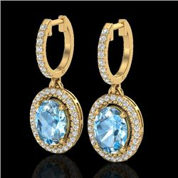 4.25 CTW Sky Blue Topaz & Micro VS/SI Diamond Earrings Halo 18K Yellow Gold - REF-94H7M - 20318