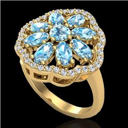 3 CTW Sky Blue Topaz & VS/SI Diamond Certified Cluster Halo Ring 10K Yellow Gold - REF-52R2K - 20775