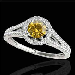 1.30 CTW Certified SI/I Fancy Intense Yellow Diamond Solitaire Halo Ring 10K White Gold - REF-162W7H