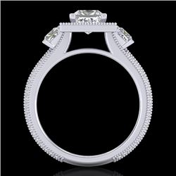 2.5 CTW Princess VS/SI Diamond Micro Pave 3 Stone Ring 18K White Gold - REF-527V3Y - 37196