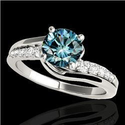 1.31 CTW SI Certified Fancy Blue Diamond Bypass Solitaire Ring 10K White Gold - REF-156K4W - 35119