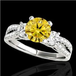 1.75 CTW Certified SI/I Fancy Intense Yellow Diamond 3 Stone Ring 10K White Gold - REF-216W4H - 3541