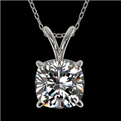 1.25 CTW Certified VS/SI Quality Cushion Cut Diamond Necklace 10K White Gold - REF-423W3H - 33217