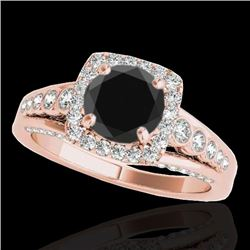 2 CTW Certified VS Black Diamond Solitaire Halo Ring 10K Rose Gold - REF-101M3F - 34323