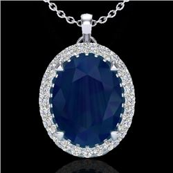 2.75 CTW Sapphire & Micro VS/SI Diamond Halo Solitaire Necklace 18K White Gold - REF-60W2H - 20598
