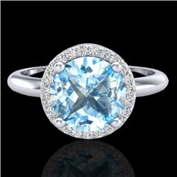2.70 CTW Sky Blue Topaz & Micro VS/SI Diamond Ring Designer Halo 18K White Gold - REF-58W9H - 23214