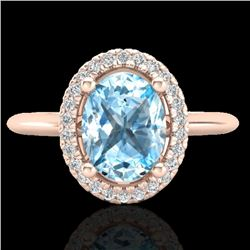 2 CTW Sky Blue Topaz & Micro VS/SI Diamond Ring Solitaire Halo 14K Rose Gold - REF-40A2V - 21003