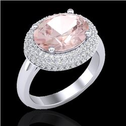 4.50 CTW Morganite & Micro Pave VS/SI Diamond Certified Ring 18K White Gold - REF-163Y8X - 20919
