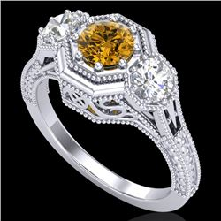1.05 CTW Intense Fancy Yellow Diamond Art Deco 3 Stone Ring 18K White Gold - REF-161N8A - 37952