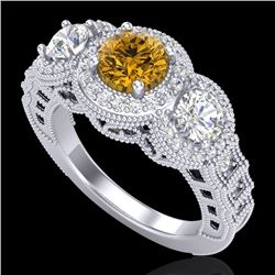 2.16 CTW Intense Fancy Yellow Diamond Art Deco 3 Stone Ring 18K White Gold - REF-270R9K - 37672