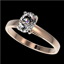 1 CTW Certified VS/SI Quality Oval Diamond Solitaire Ring 10K Rose Gold - REF-297V2Y - 32992