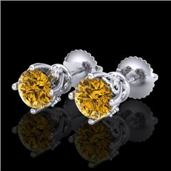 1.26 CTW Intense Fancy Yellow Diamond Art Deco Stud Earrings 18K White Gold - REF-200W2H - 37791