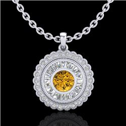 2.11 CTW Intense Fancy Yellow Diamond Art Deco Stud Necklace 18K White Gold - REF-227K3W - 37917