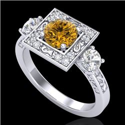 1.55 CTW Intense Fancy Yellow Diamond Art Deco 3 Stone Ring 18K White Gold - REF-178N2A - 38176