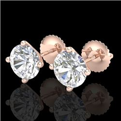 2.5 CTW VS/SI Diamond Solitaire Art Deco Stud Earrings 18K Rose Gold - REF-668M2F - 37308