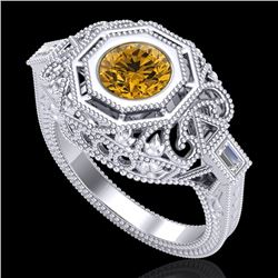 1.13 CTW Intense Fancy Yellow Diamond Engagement Art Deco Ring 18K White Gold - REF-309V3Y - 37826