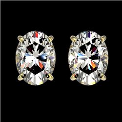 2 CTW Certified VS/SI Quality Oval Diamond Solitaire Stud Earrings 10K Yellow Gold - REF-585M2F - 33