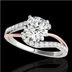 1.35 CTW H-SI/I Certified Diamond Bypass Solitaire Ring 10K White & Rose Gold - REF-167A3V - 35105