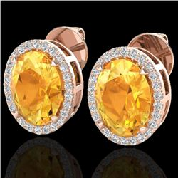 5.50 CTW Citrine & Micro VS/SI Diamond Halo Earrings 14K Rose Gold - REF-61F8N - 20245