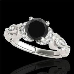1.20 CTW Certified VS Black Diamond Solitaire Antique Ring 10K White Gold - REF-57M3F - 34678