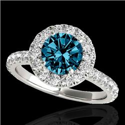 1.75 CTW SI Certified Fancy Blue Diamond Solitaire Halo Ring 10K White Gold - REF-178A2V - 33441
