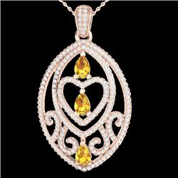 3.50 CTW Yellow Sapphire & Micro VS/SI Diamond Heart Necklace 14K Rose Gold - REF-218A2V - 21299